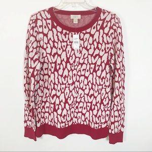 LOFT Red Long Sleeve Crew Neck Sweater Size M